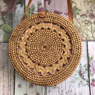 All new! 7cm Tas anyaman rotan sling bag, women hand bag tebal braid depan