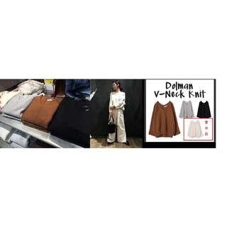 轉賣日貨連線 日本品牌專櫃JEANASIS寬鬆版型米蘭諾飛鼠袖上衣 V領寬袖毛衣 米白色