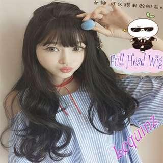 New Fluffy Big Wavy Air Bangs Natural Brownish Black Full Head Wig