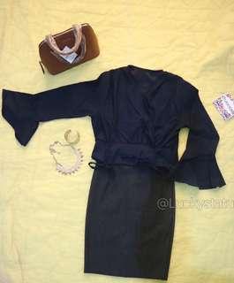 One set navy trump blouse + rok