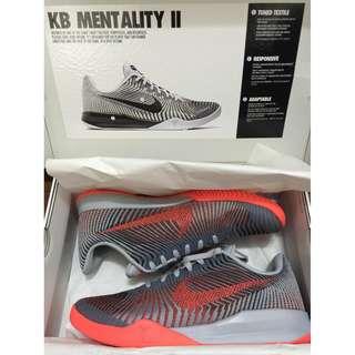 Nike AUTH Kobe Mentality II Ep Wolf Grey/Bright Crimson Black basketball shoes 10.5 US BNEW