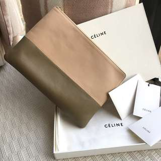Celine  2-tone colors leather clutch / handbag  (Made in Italy)