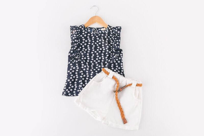 2 Piece Set / Floral Top & White Pant with Belt