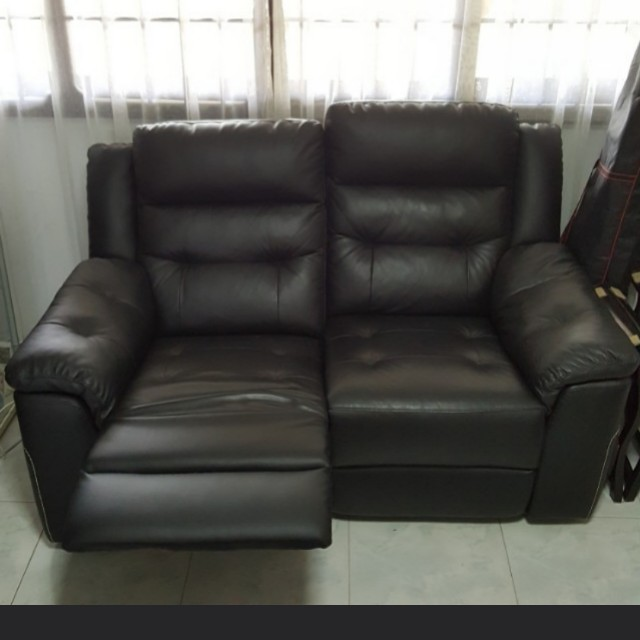 2 Seater Black Leather Recliner Sofa Furniture Sofas On Carousell