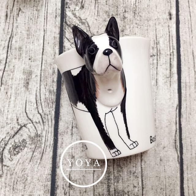 泰國手繪3D立體動物系列波士頓梗馬克杯咖啡杯