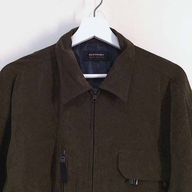 Redskins ✼綠棕色絨面夾克✼ 咖啡 巨大寬鬆Oversize 翻蓋口袋 中性拉鍊外套 日本古着Vintage