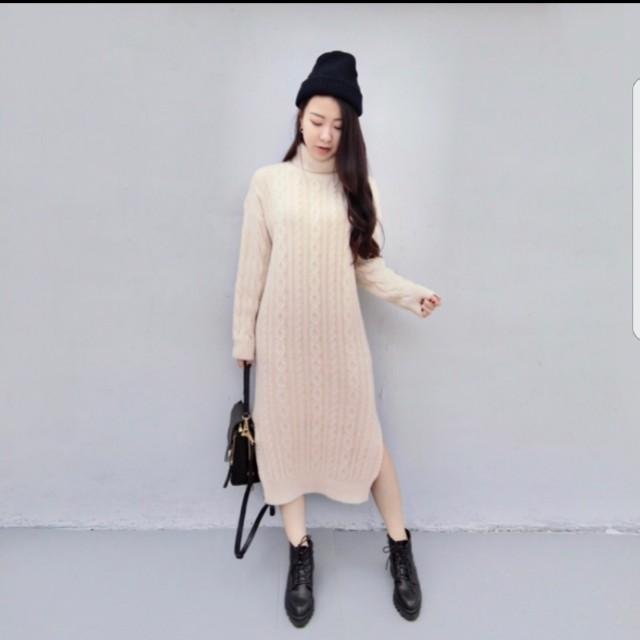 超重磅高領麻花洋裝