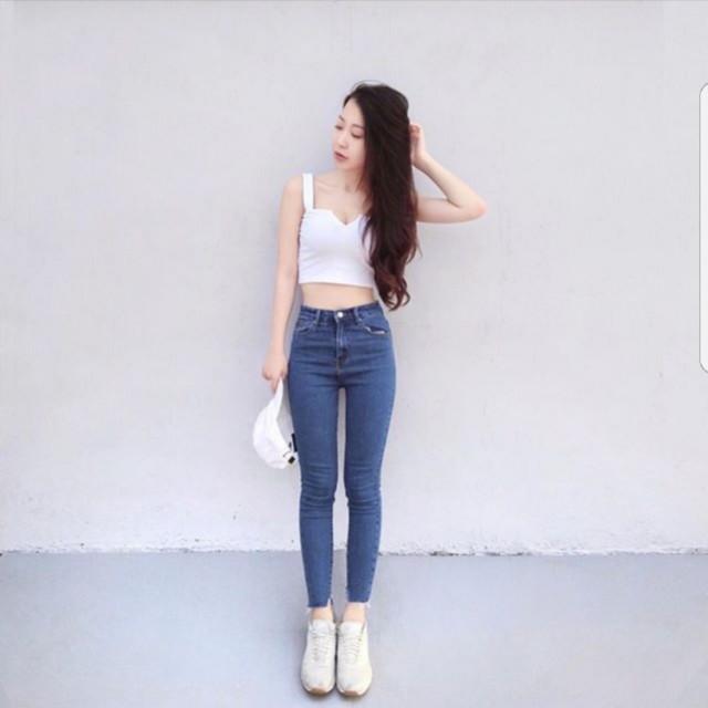 高腰不規則小腳牛仔褲(黑)