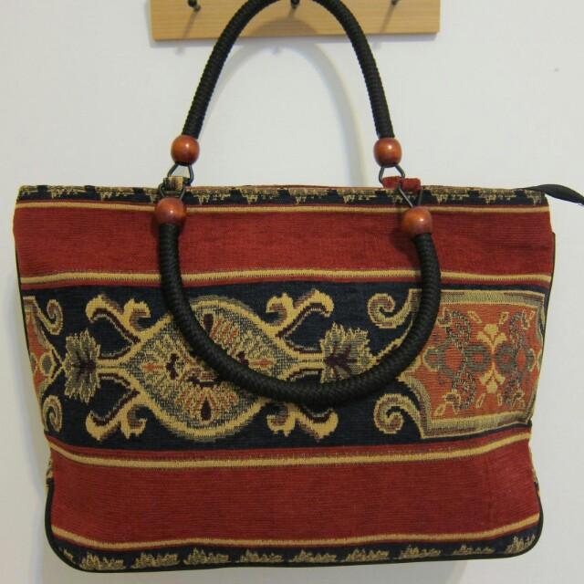 民俗風手提布包