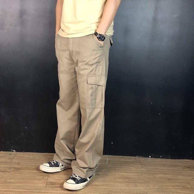 第二件六折*新品卡其棕多口袋男版工作直筒長褲