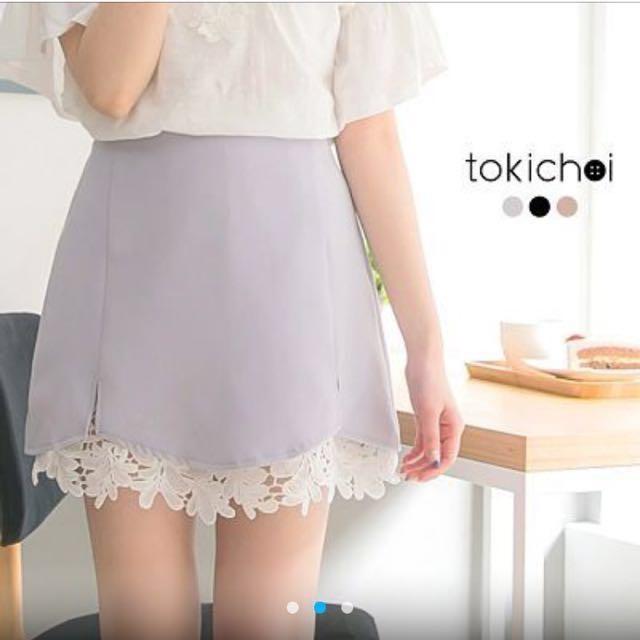東京著衣淡紫色蕾絲拼接短裙 #超取再七折