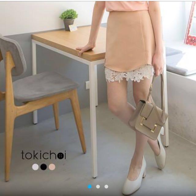 東京著衣卡其色蕾絲拼接短裙 #超取再七折