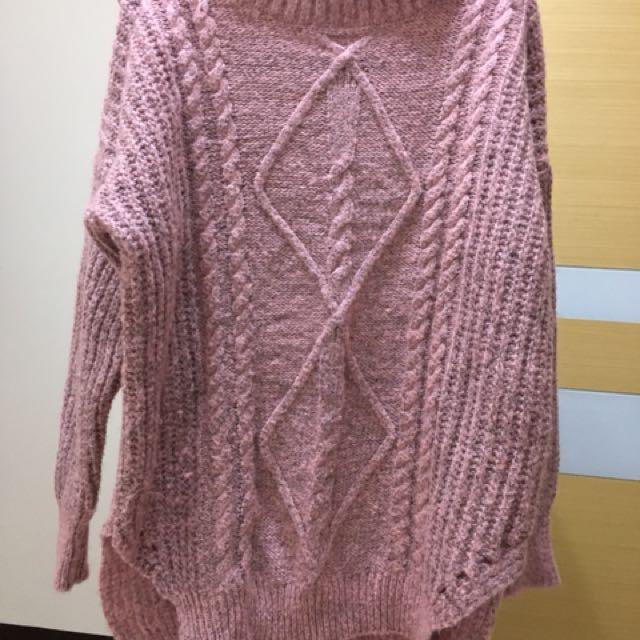 韓 粉色針織毛衣