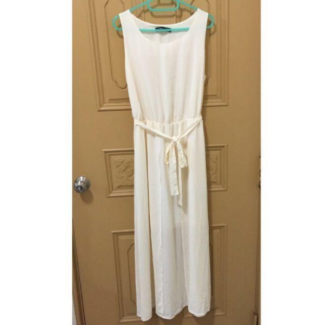 全新 雪紡無袖長洋裝(白)附腰帶