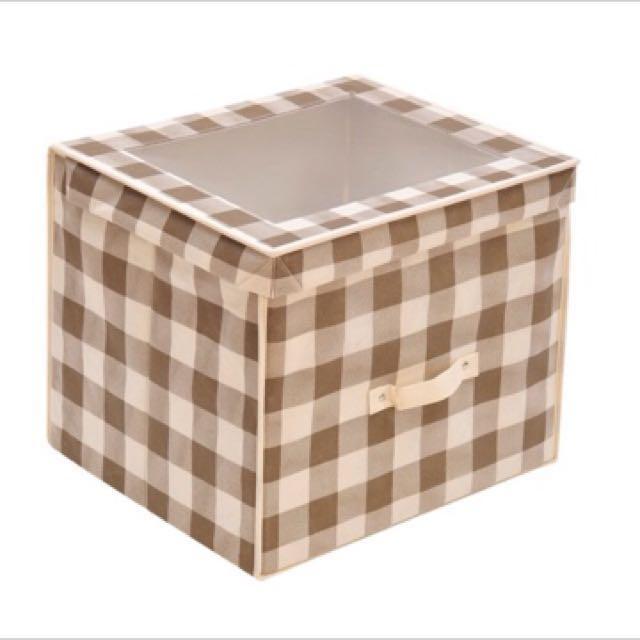 方形透明掀蓋式大容量收納箱 收納櫃 收納組 棕格
