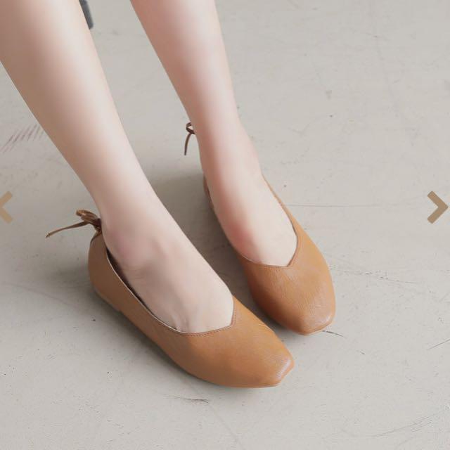 (降價)全新 方頭平底鞋 歐膩鞋 蝴蝶結 40號 咖啡色💕