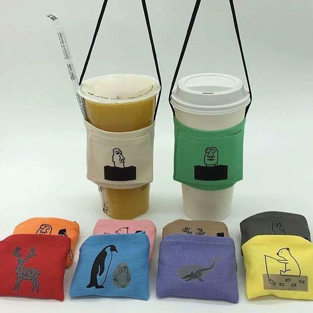 台灣製環保飲料提袋 (專利收納 / 可隨身攜帶 / 感溫變化)黃北極熊、綠鹿