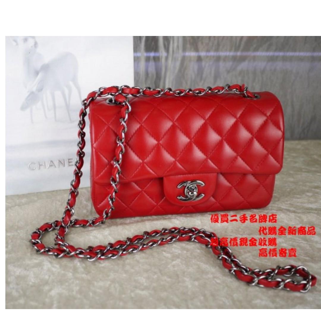 優買二手名牌店 CHANEL 紅 羊皮 銀鍊 菱格紋 MINI COCO 20 肩背包 斜背包 A69900 激新 I