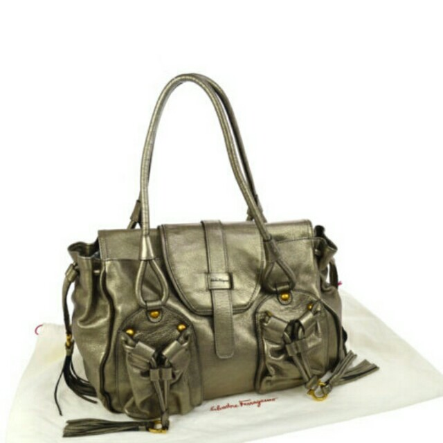 Authentic Salvatore Ferragamo Gancini Fringe Shoulder Bag Leather
