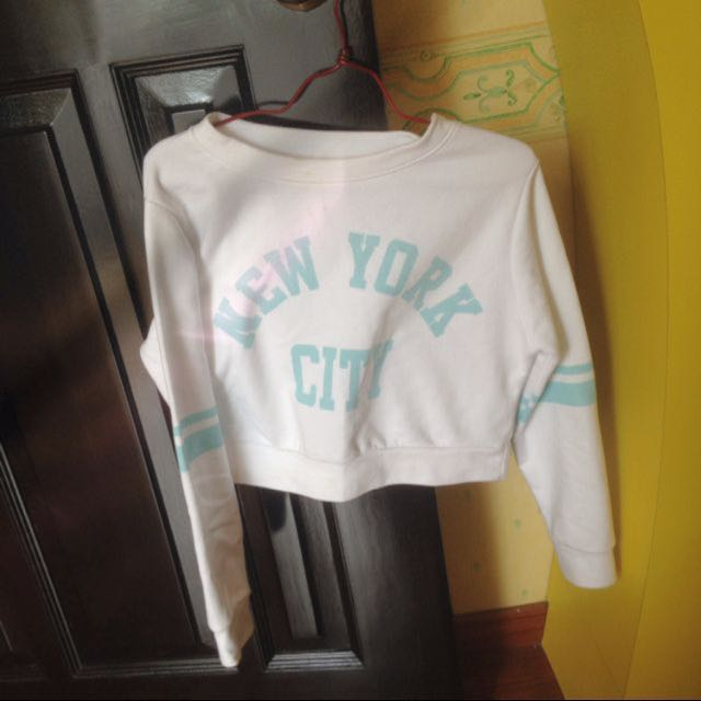 Baby Blue Long Sleeve Cropped Top