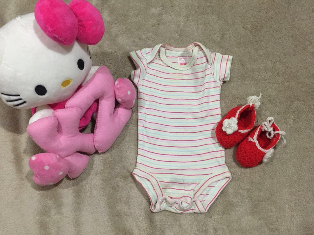 baby onesies and crochet shoes