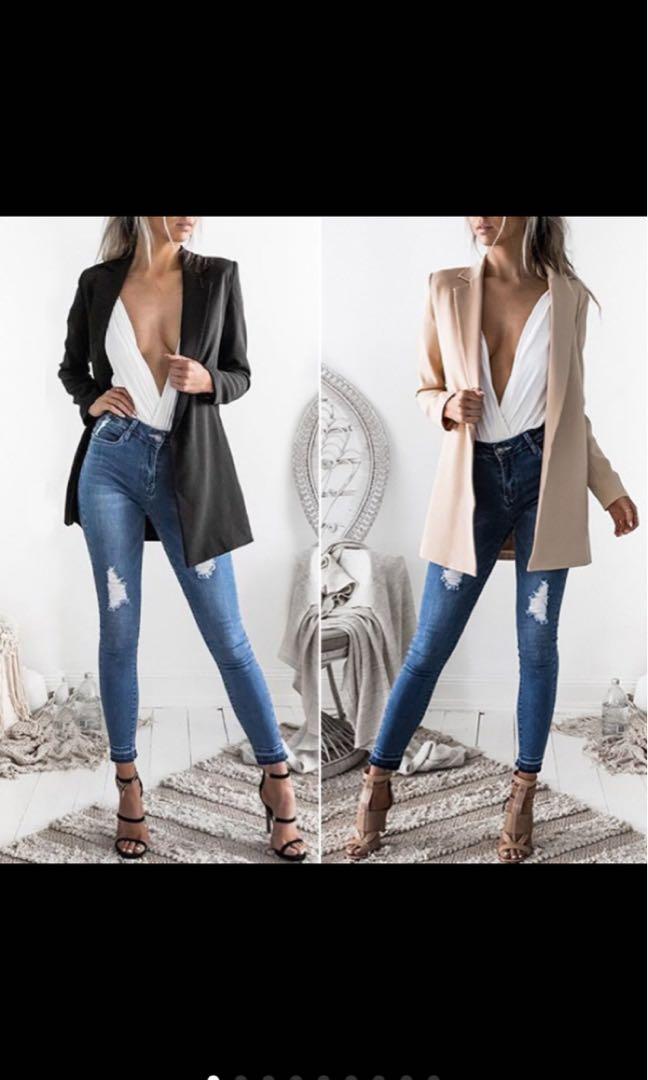 Black & khaki blazer
