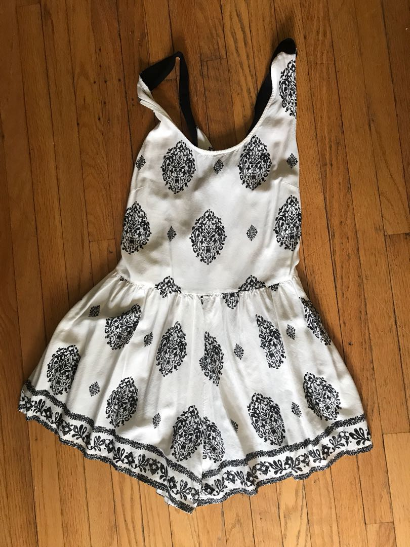 Black and white open-back romper