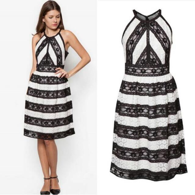BlackWhite Lace Floral Vintage Dress
