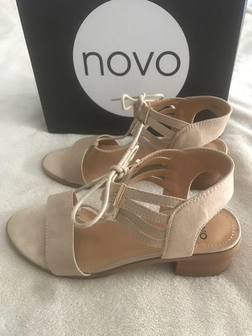 Brand new in box Novo cream low heel tie up sandals