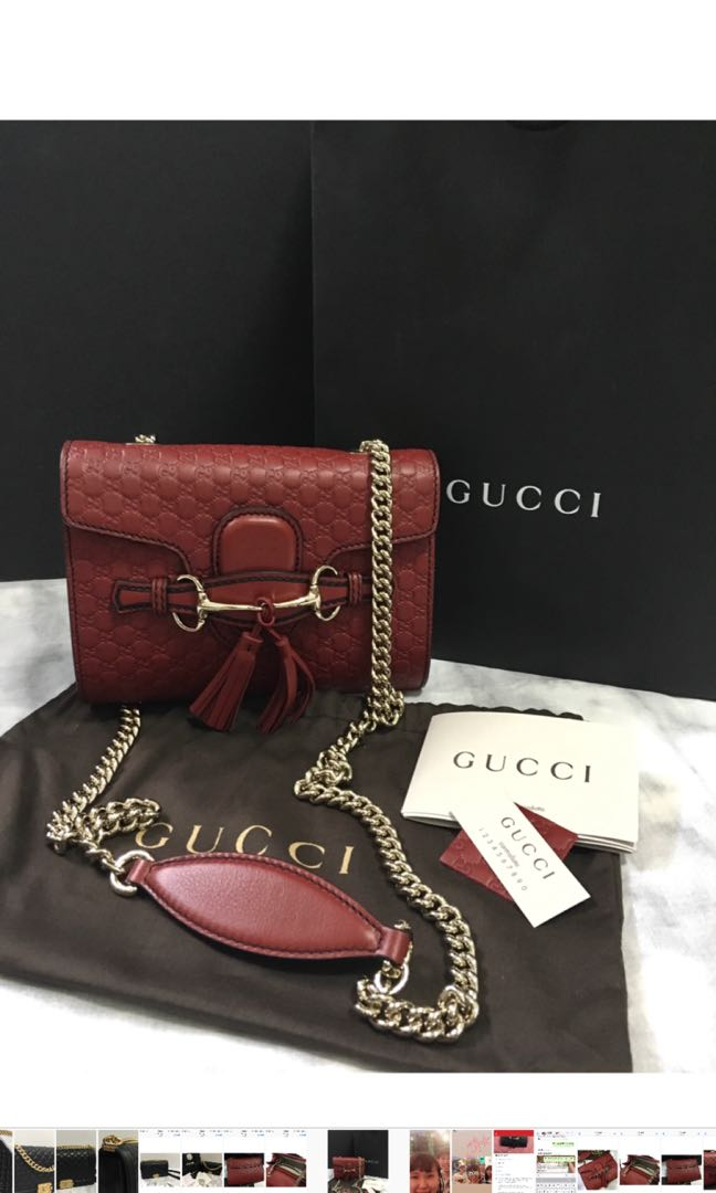 Brand New Red Emily Guccissima mini chain shoulder bag