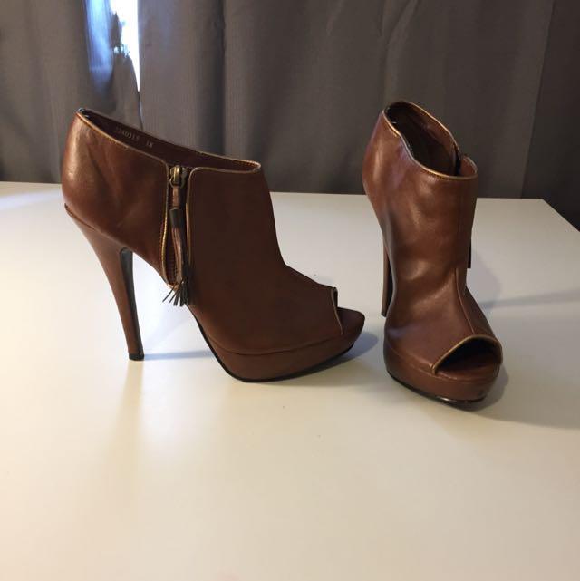 Brown Heel Boots Peep Toe