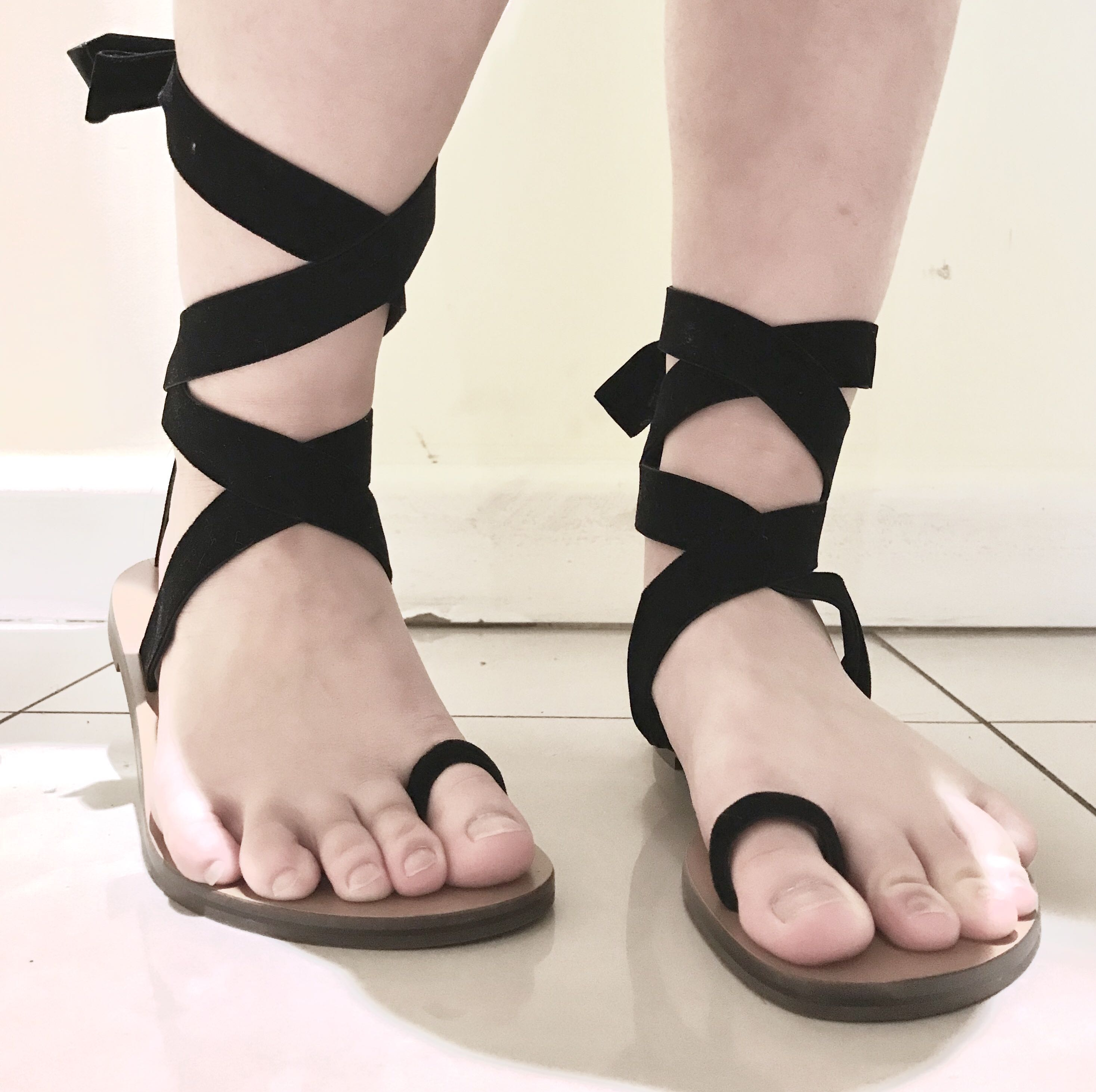 CHARLES & KEITH BLACK VELVET LACE UP SANDALS