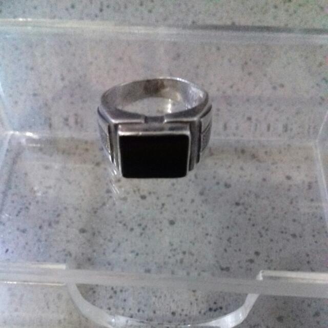 Cincin Perak Black Onyx Size 7