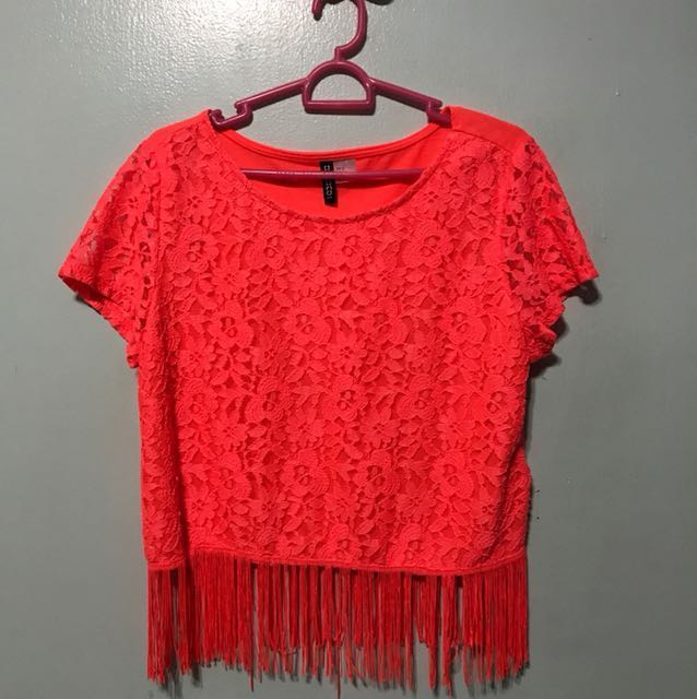 Cotton On Neon Crop Top with Lace Detail