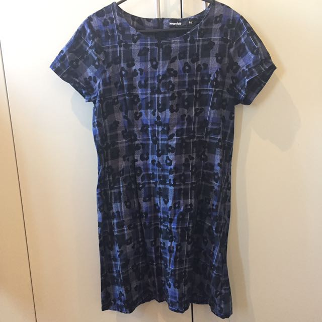 Dangerfield Blue Tartan Shift Dress
