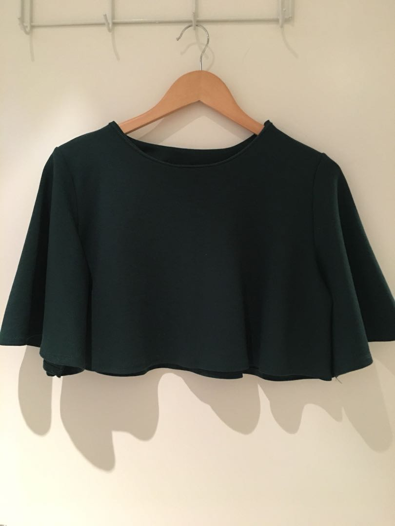 Dark green loose fit crop top