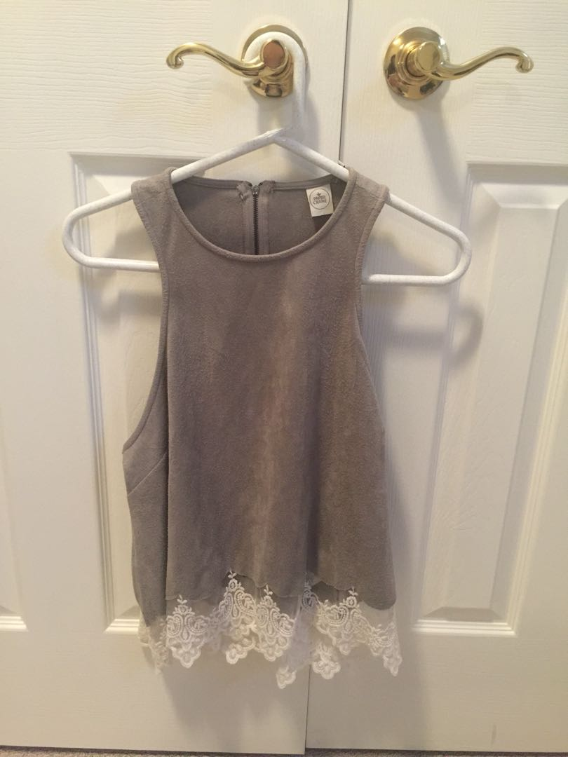 faux suede tank top with lace detailing size L but fits a medium