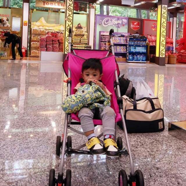 👶foldable pink stroller