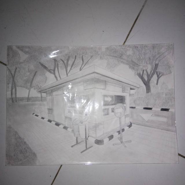 Gambar Rumah Perspektif 2 Titik Hilang Sekitar Rumah