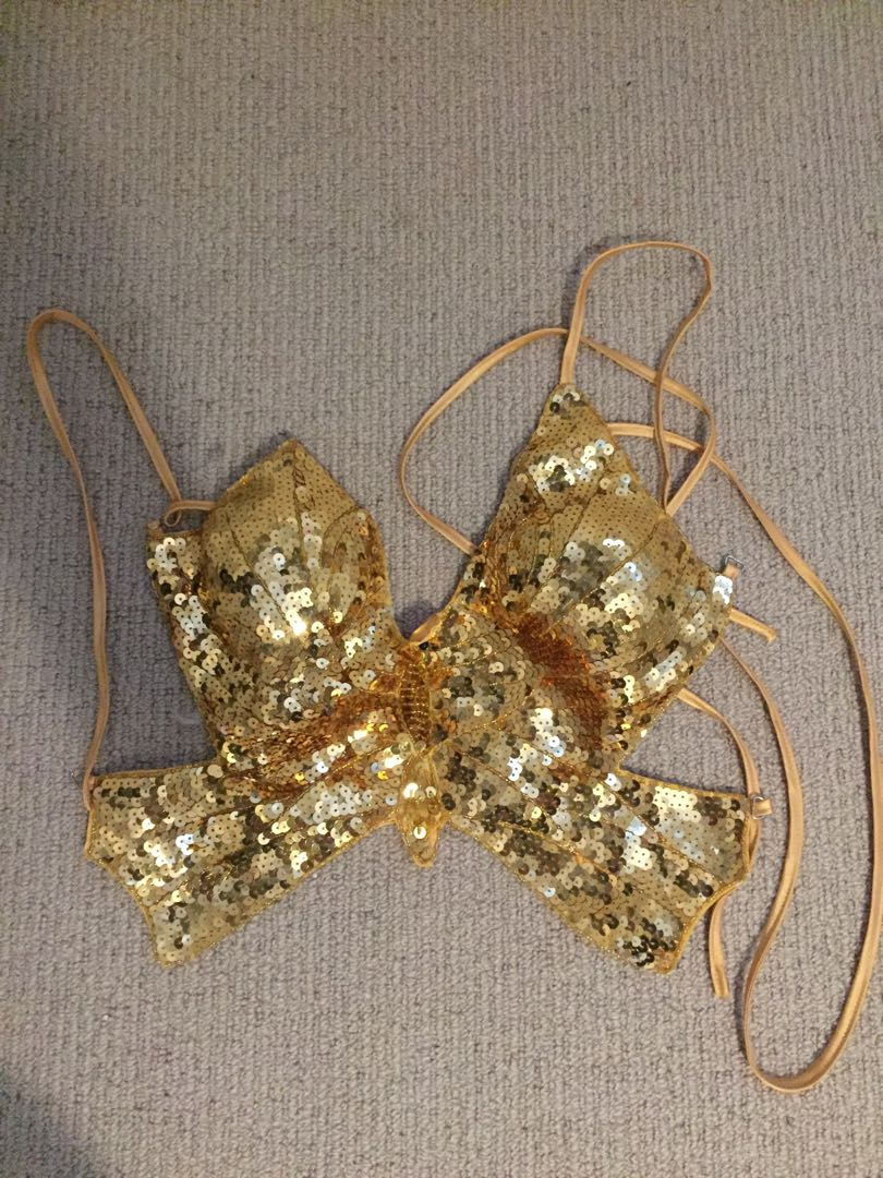 Gold Sequin Butterfly Halter