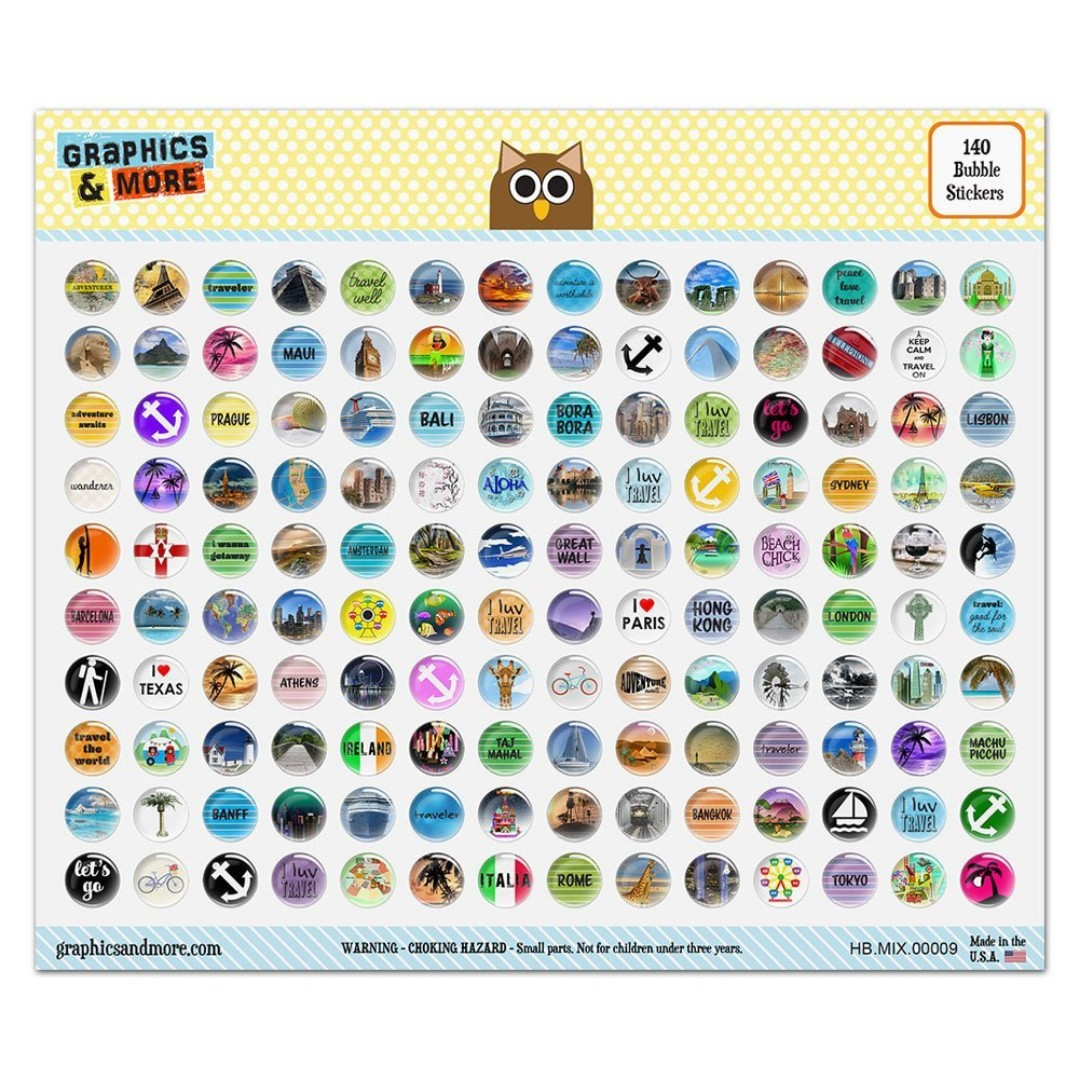 Graphics and More Set of 140 Colorful Bubble Home Button Stickers Fit Apple iPod Touch, iPad Air Mini, iPhone 4/4s 5/5c/5s 6/6s Plus