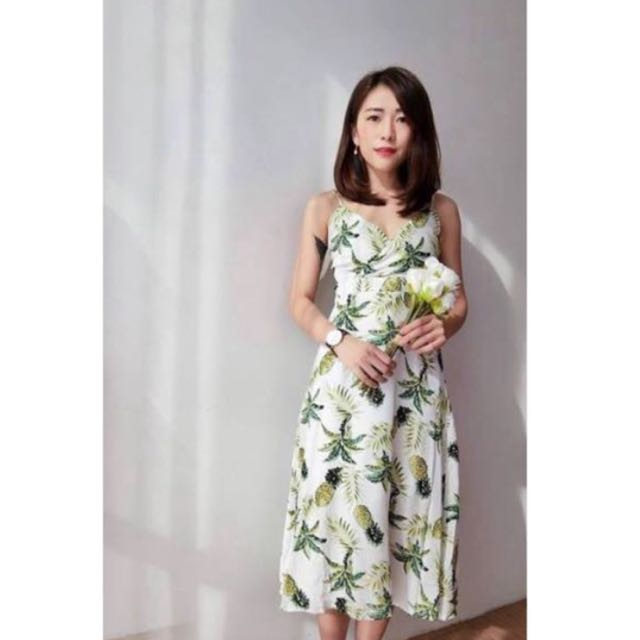 Green and White Midi Dress