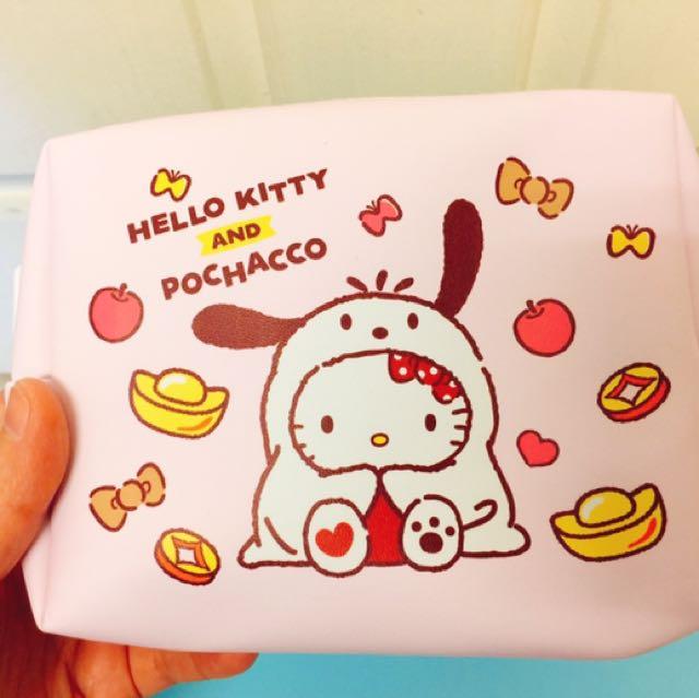 #全新正版HelloKitty&帕恰狗可愛粉色雙層化妝包