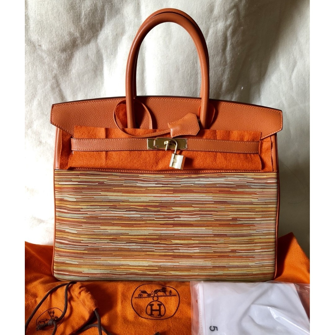 HERMÈS vibrato-togo leather birkin 35 bag