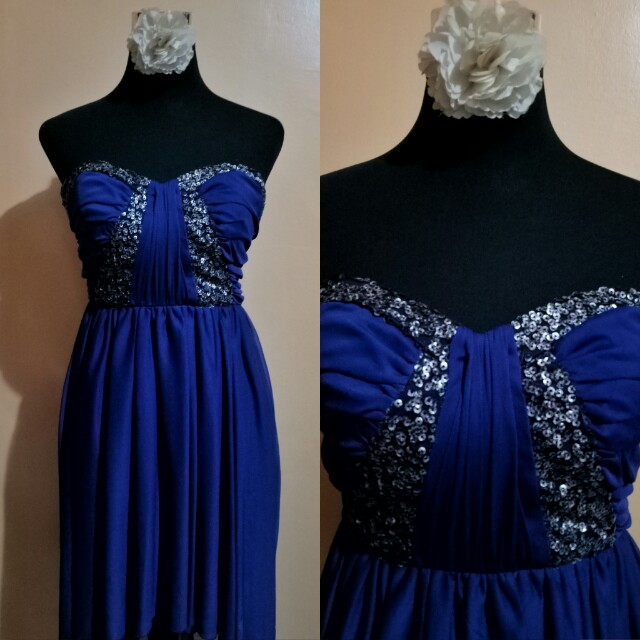 High Low Blue Empire Cut Gown