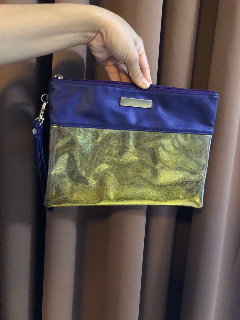 Large Glittered Cosmetic Pouch with Wrist Strap