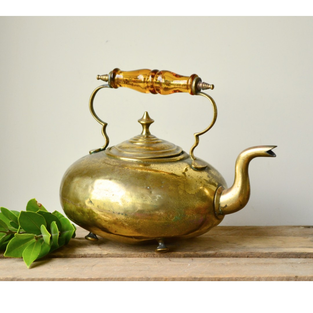 Large Vintage Golden Brass Teapot with Amber Handle