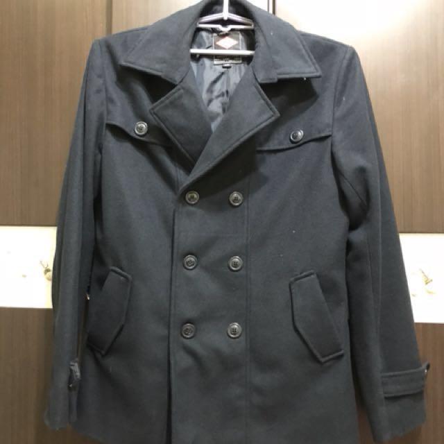 Lee Cooper 5%羊毛 雙排扣短大衣 L號
