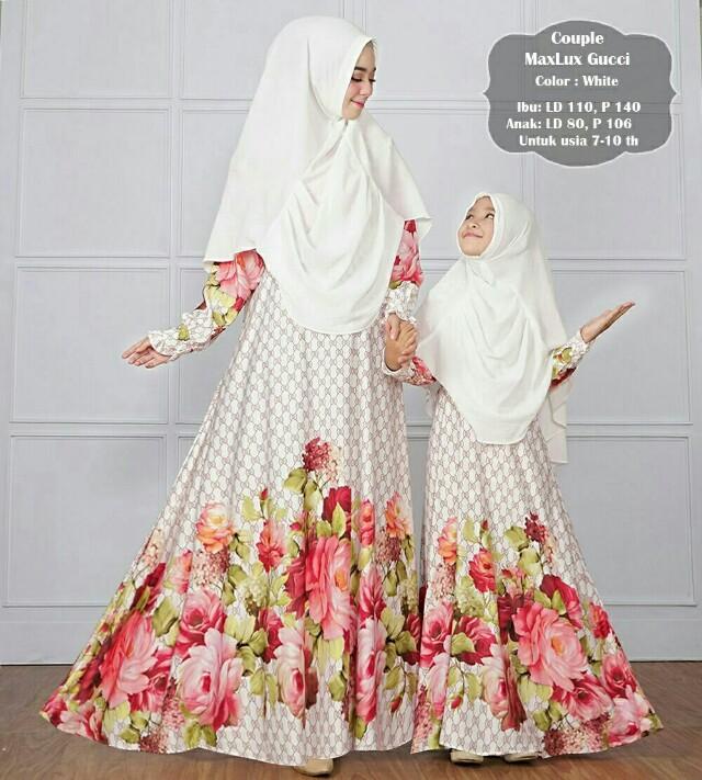 Lq37- Couple Maxmara Lux Gucci Navy 275.000 Bahan Gamis Maxmara, sudah dengan khimar, ibu ld110 p140, anak ld 80 p 106