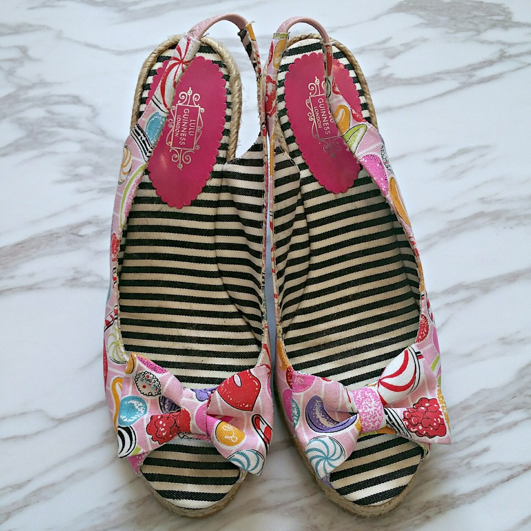 LULU GUINNESS LONDON PINK CANDY PRINT OPEN TOES WEDGE SANDALS - SIZE 38 SPAIN